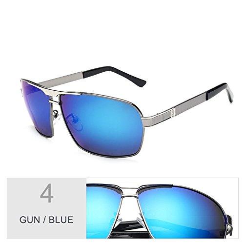 pistola Classic sol borde gafas guía Sunglasses polarizadas para de de Gun el gafas azul película hombres Blue azul TL oro Square de lentes gSqx5R5X