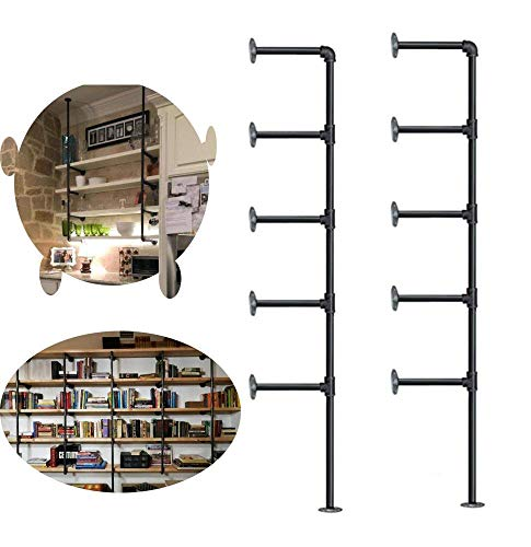 - Kaler 5-Tier Industrial Piping Classic Shelves Piping Brush Silver Wall Bookshelf Easy to Install 68