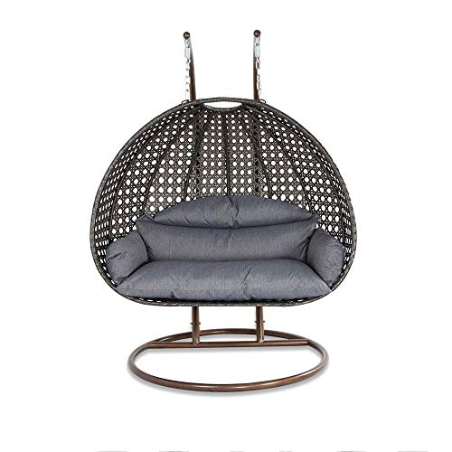 Deluxe Swing Chair Outdoor Furniture PE Rattan Wicker Hanging Hammock with Stand, Cushioned Loveseat Chaise Lounger, Perfect for Patio, Garden, Porch, Backyard, House, Indoor Decor (CHARCOAL)