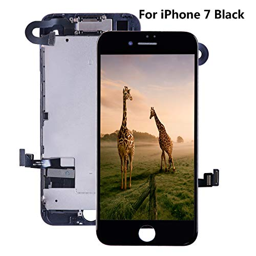for iPhone 7 Screen Replacement 4.7 Digitizer Black - with [ Proximity Sensor] [ Ear Speaker] [ Front Camera] [ Repair Tools] [ 3D Touch] Display Touch LCD Frame Full Assembly Repair Kit