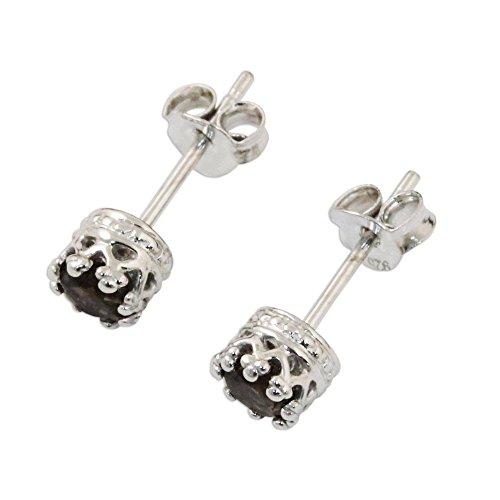 - NOVICA Smoky Quartz .925 Rhodium Plated Silver Stud Earrings 'Brilliant Splendor'