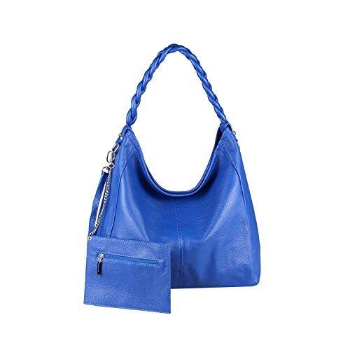 OBC Made in Italy XXL Auténtico Cuero DIN-A4 Shopper 2 en 1 Bolso de Asas + Bolso de Joyas Bolsa Bandolera 50x34x16 cm Azul Real