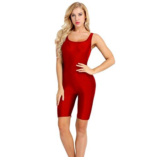 Red unitard shorts women