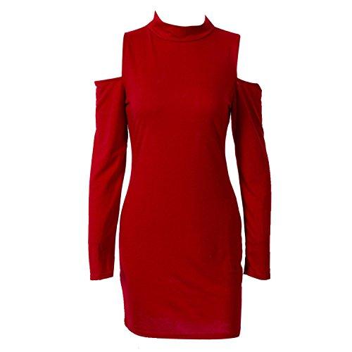 Women Bandage Bodycon Sex Mini Dress Long Sleeve Turtleneck Off Shoulder Slim Pencil Mini Dress,Red,M