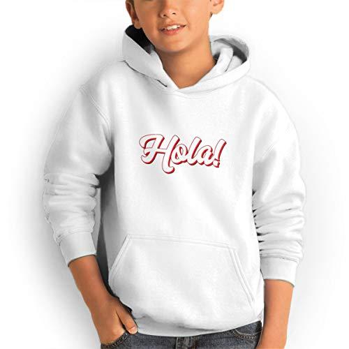 Shenhuakal Youth Hoodies Hola Hello Ggirl%Boy Sweatshirts Pullover with Pocket White 30 by Shenhuakal