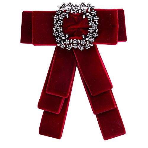 Vintage Gemstone Bow Party Autumn and Winter Sweater Bow Accessories, Ladies Girl Brooch (Color : Red)