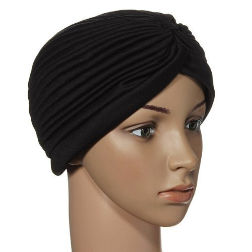 Turban Head Wrap Band Chemo Bandana Pleated Cap Hat (Black) (Hats Chefs Pleated)