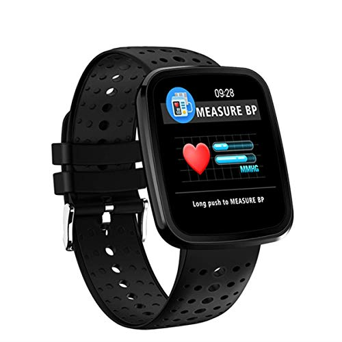 er Smart Watch IP68 Waterproof Clock Color Screen Sports Pressure Blood Heart Rate Monitor for iOS Android,Black ()