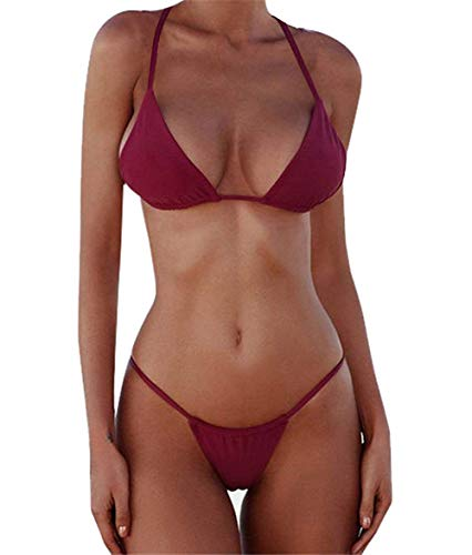 - Macvise Women's 2 Pcs Bikini Triangle Top Brazilian Bottom Swimwear Bikini Set (Small, Bandage Wine red)