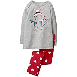 Gymboree - Conjunto de Pijama de 2 Piezas para niña, Gato, Small