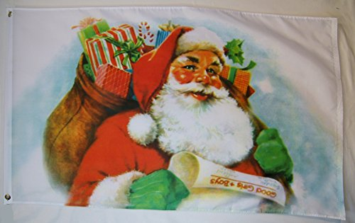 Santa Claus With Bag Of Presents For Girls And Boys Flag 3'
