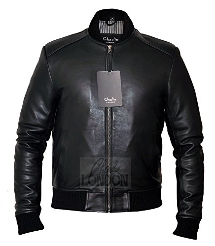 Men's Sand Style Bomber Leather Jacket - Charlie LONDON