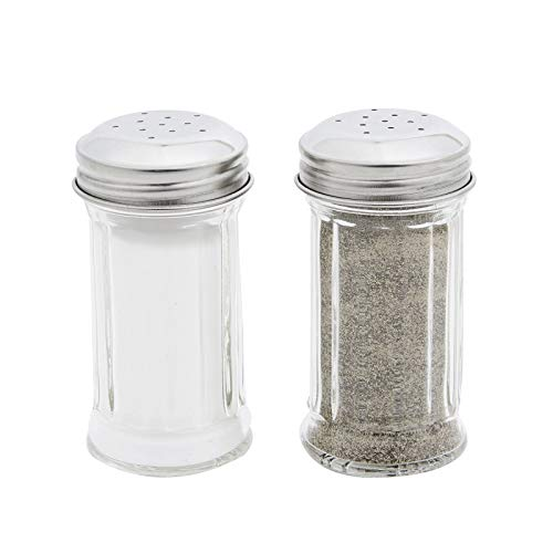 Tablecraft 657 2 oz. Fluted Glass Salt and Pepper Shaker with Stainless Steel Top