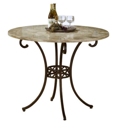 Hillsdale Brookside Counter Height Dining Table, 45-Inch Diameter by 25MM Fossil Stone Top, Brown Powder Coat Finished Base