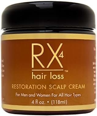 Rx 4 Hair Loss Restoration Scalp Cream for Men & Women, All Hair Types, 4 fl. Oz. with Hair Loss Guide