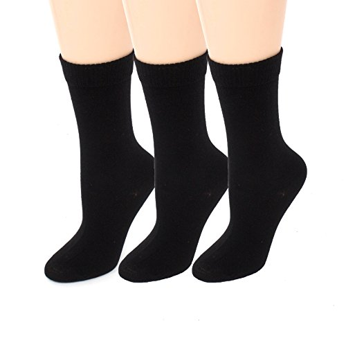 (Diabetic Socks | Womens Black Crew 3 Pack | Seamless Toe Size 9-11)