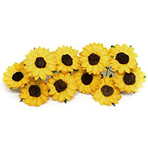 "1.5"" Mulberry Paper Sunflowers Paper Flowers Floral Crown Flowers DIY Wedding Decor DIY Paper Bouquet Artificial Flowers Wedding Crafts Home Decorations Baby Shower Decor, 20 Pieces 70"