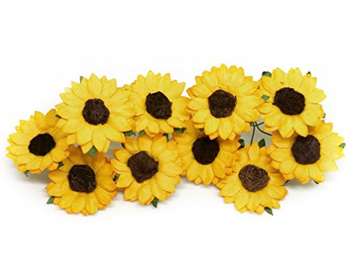 Baby Shower Bouquets - 3.5cm Mulberry Paper Sunflowers Paper Flowers Floral Crown Flowers DIY Wedding Decor DIY Paper Bouquet Artificial Flowers Wedding Crafts Home Decorations Baby Shower Decor, 20 Pieces