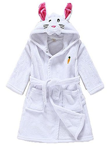 BELLE-LILI Kids Girls Fleece Robe Cotton Animal Dinosaur Hooded Bathrobe (2T-3T, White (Bella Robe)