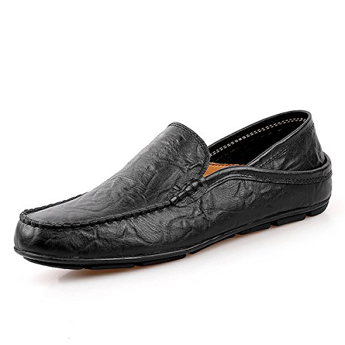 Premium Loafers Fashion Business Genuine Slipper Men's Shoes Black 20138 Shoes Casual Leather shoes 11 Driving qwa8Hwg