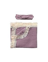 KONFA Infant Baby Newborn Boys Girls Muslin Tassels Bath Towel Washcloth Clothing Set Hydrophil Bathrobe Swaddle Wrap Blanket