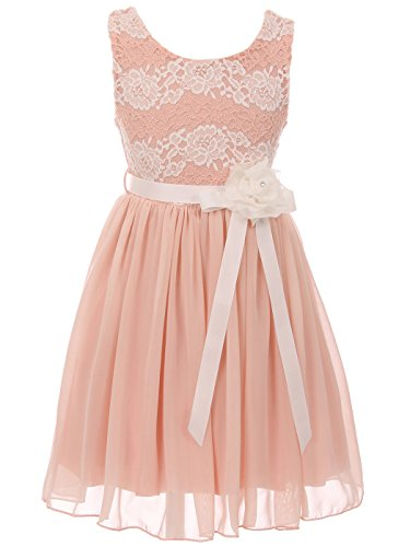 db2bb12a37b BluNight Collection Big Girls Elegant Round Neck Chiffon Summer Wedding  Birthday Holiday Flower Girl Dress Blush 14 (2J1K38S)
