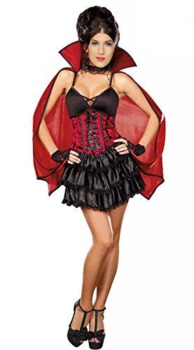 JJ-GOGO Gothic Vampiress Costume - Women Sexy Halloween Dead Vampire Costume Adult