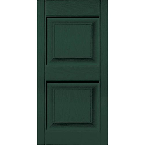 15 In Vinyl Raised Panel Shutters In Midnight Green Set Of 2 In W X 1 In D X 50