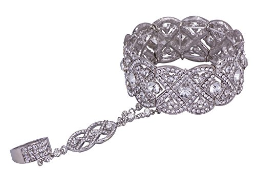 (Vijiv Silver 1920s Flapper Accessories Bracelet Ring Set Great Gatsby Style 20s Jewelry for Party)