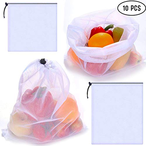 SuReady Reusable Produce Bags - Mesh Bags - Set of 10 - Washable, Heavy-Duty, EcoFriendly Bags Storage Totes for Grocery Shopping Fruits, Vegetables, Food