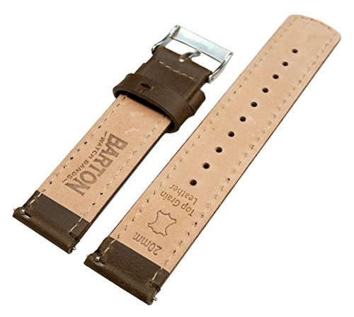 Barton Quick Release Top Grain Leather Watch Band Strap - Choose Color & Width (18mm, 20mm or 22mm) - Saddle Brown 20mm by Barton Watch Bands (Image #3)