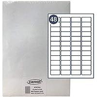 inerra selbstklebend blanko Etiketten - 48 per A4 Blatt - (Menge Optionen) - 45.7 x 21.2mm AVERY passend : L6009 Aufkleber,Adresse,Inkjet,Laser oder Kopierer,nicht Jam,matt weiß,hergestellt in UK