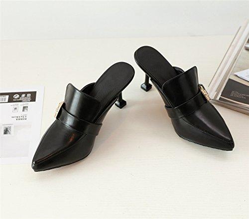 Corte Estilete Vestir Punta Sandalias Puntiaguda Ponerse Mujer Zapatos Slingback Talones Zapatillas Fiesta Black Xq0USw