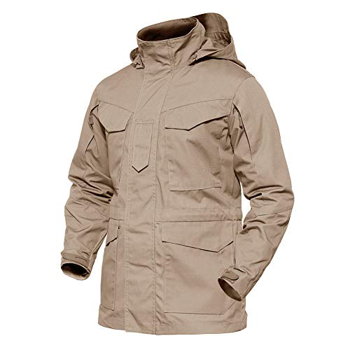 TACVASEN Men's M-65 Ripstop Durable Breathable Tactical Hood Jacket Drawstring Waist Dust Coat Khaki