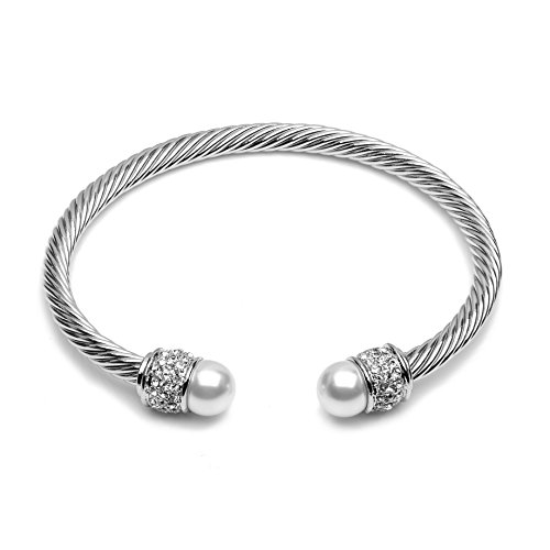 The Gemseller 18k White Gold Plated Twisted Cuff Bracelet with 2 White Swarovski Pearls and Crystal Pave by The Gemseller