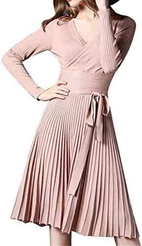 Fubotevic Women s Slim Fit Knitted Long Sleeve Flare Sexy Pleated Cocktail  Party Midi Dress 9b14bd721
