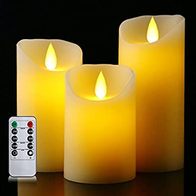 "Flameless Battery Candles With Remote Timer Set 4"" 5"" 6"" Flickering Dancing Flame White Led Pillar Candles by Letetop (Ivory)"