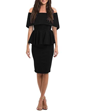 4e31883e511 Bigyonger Womens Off Shoulder Party Dress Bodycon Sexy Bandage Ruffle  Peplum Cocktail Midi Dresses at Amazon Women's Clothing store: