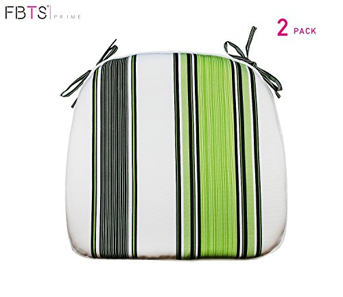 FBTS Prime Outdoor Chair Cushions (Set of 2) 16x17 Inches Patio Seat Cushions Navy Green and White Stripe Square Chair Pads for Outdoor Patio Furniture Garden Home Office (White Furniture Striped Patio Covers Green And)