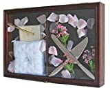 Wedding Ceremony Accessories/Baby Shower Keepsake Shadow Box Display Case, Mahogany Finish