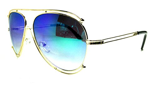 Double Gradient Gold Mirror (Halo Double Wire Rim Aviator Sunglasses (Gold, Green Gradient Iridium Mirror))