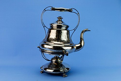 Large Silver Plated Kettle on Stand Arts & Crafts Antique Victorian English Late 19th Century Pear Shaped Teapot by Lavish Shoestring