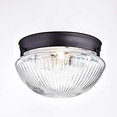 Truelite Industrial Flush Mount Ceiling Light with Glass Shade ORB Color 2-Light Hanging Ceiling Fixture