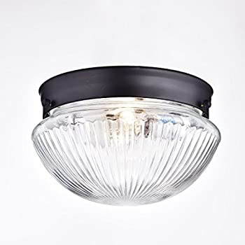 AF Lighting 9 Inch D by 5 Inch H Diamond Cut Glass Ceiling