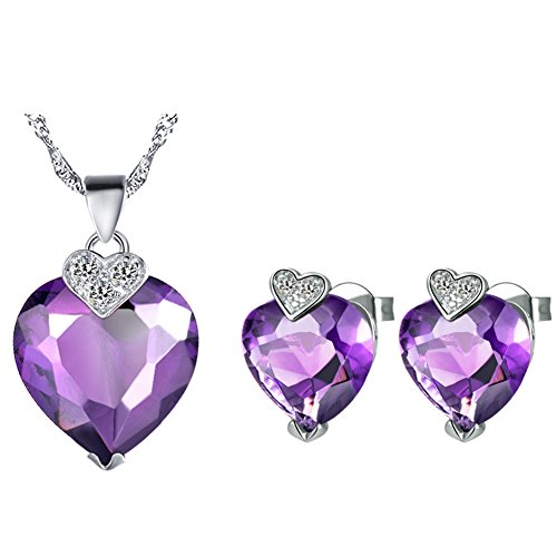 [Layla Jewellery 18k White Gold Plated Alloy Swarovski Elements Crystal Jewelry Set include Pendant Necklace and Stud Earrings for Ladies Purple(Love] (Elegant Bride Costumes)