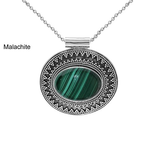 11.50ct,Genuine Cabachon Malachite & 925 Silver Plated Pendant (Genuine Malachite Pendant)
