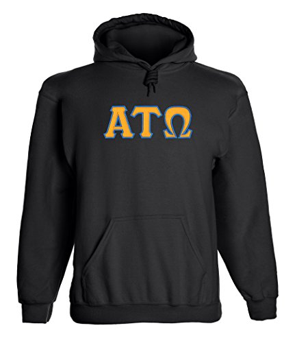 Fashion Greek Alpha Tau Omega Twill Letter Hoody by Black Gold (Tau Greek Letter)