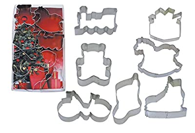 R&M International 1987 Under The Tree Christmas Cookie Cutters, Skate, Present, Bicycle, Rocking Horse, Stocking, Teddy Bear, Locomotive, 7-Piece Set