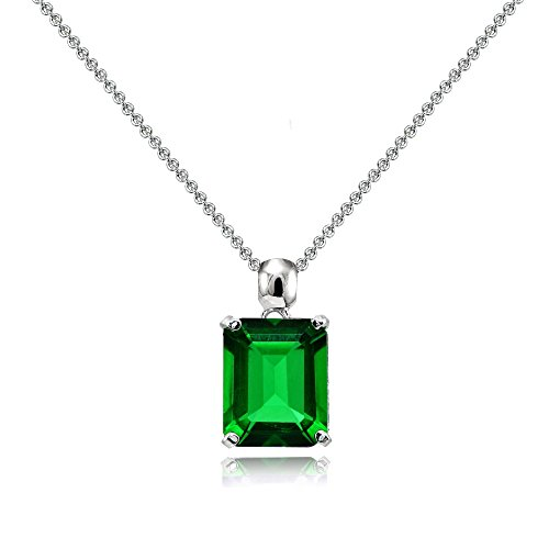 Emerald Cut Solitaire Pendant - Sterling Silver Simulated Emerald Octagon-Cut Solitaire Pendant Necklace for Women