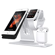 Bestand [3 in 1] Aluminum Apple iWatch Stand, Airpods Charging Station, Qi Fast Wireless Charger Dock for iPhone 7 /6s Plus Samsung S8 and other Qi-Enabled Devices, (Silver)